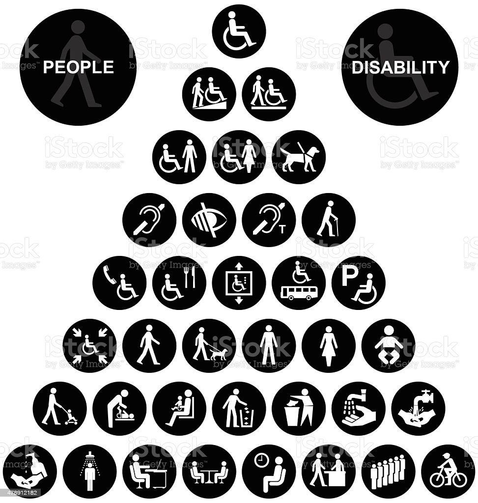 Pyramid disability and people Icon collection vector art illustration