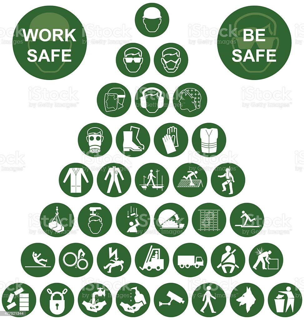 Pyramid Health and Safety Green Icon collection vector art illustration