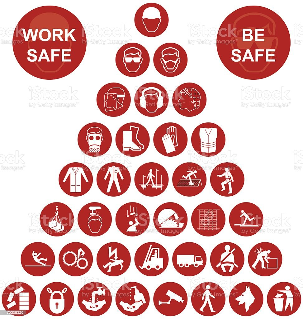Pyramid Health and Safety Icon collection vector art illustration