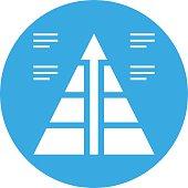Pyramid icon on a round button. - Round Series