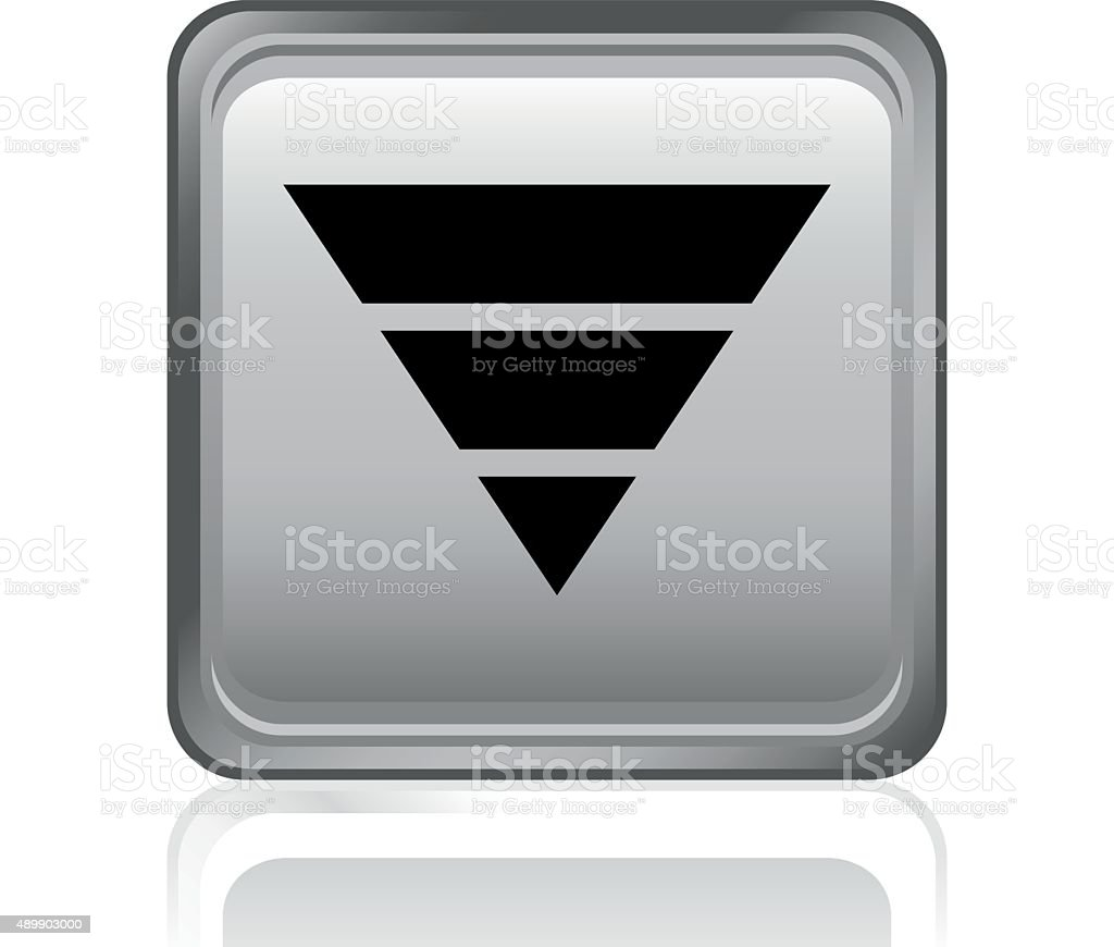 Pyramid icon on a square button. - Steel Series vector art illustration