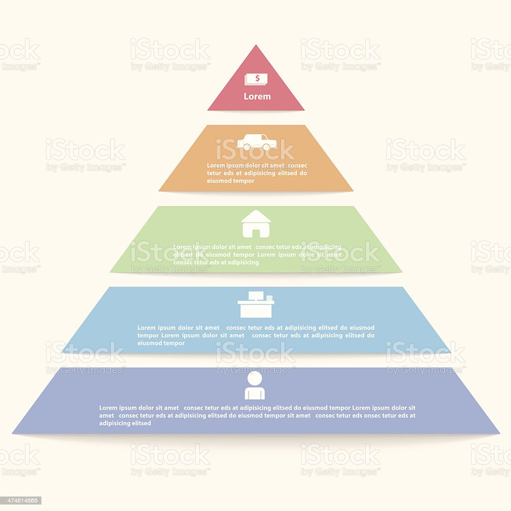 Pyramid infographic template vector art illustration