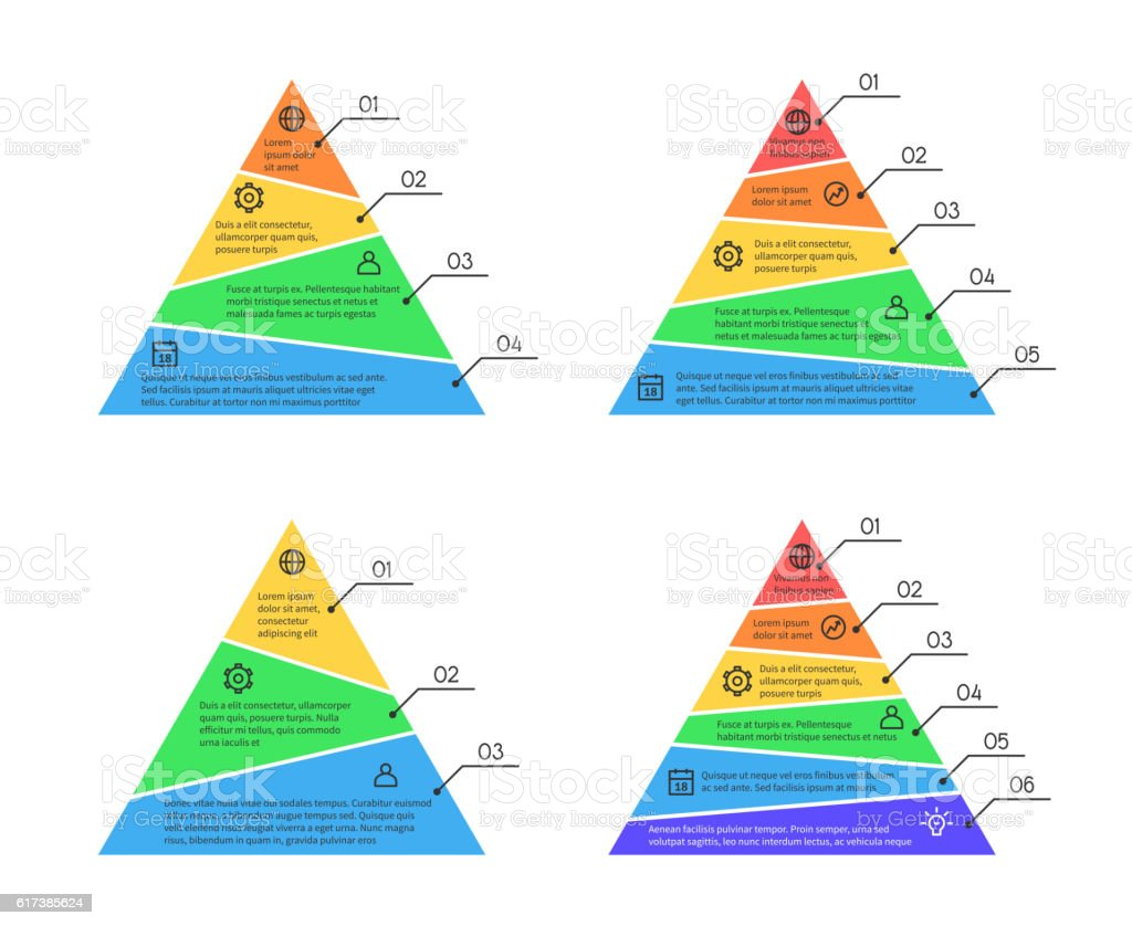 Pyramid, layers chart infographic vector elements with different numbers of vector art illustration