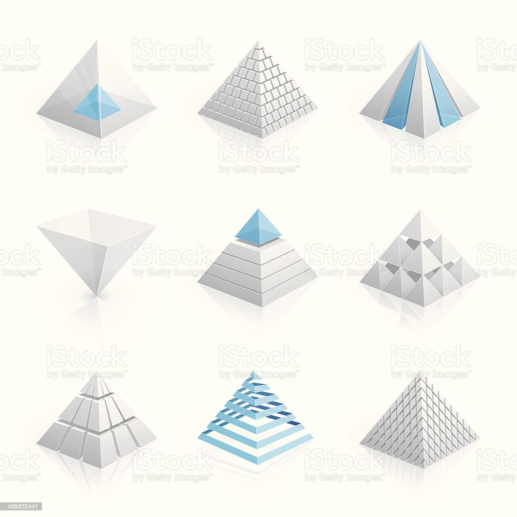 3D pyramid models in white and blue vector art illustration