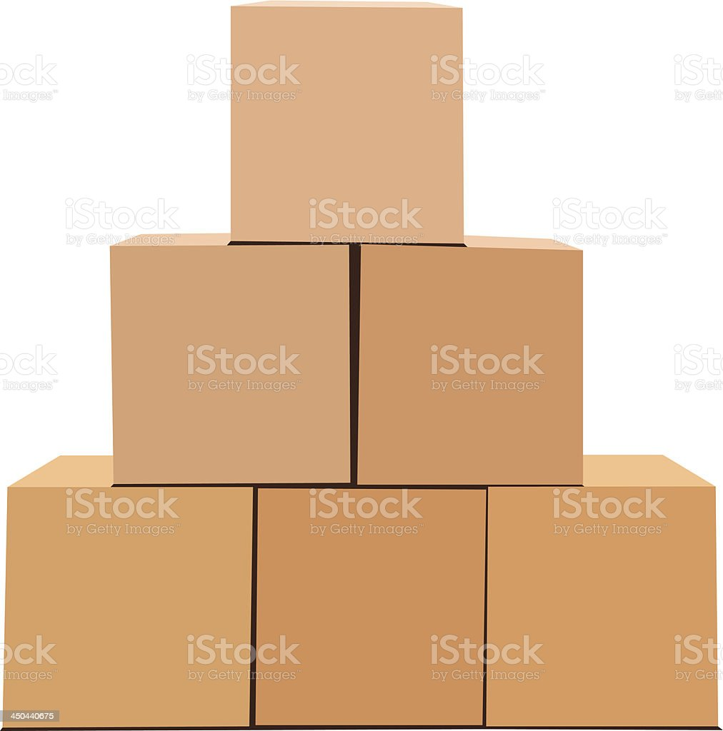 A pyramid of cardboard boxes isolated on white vector art illustration