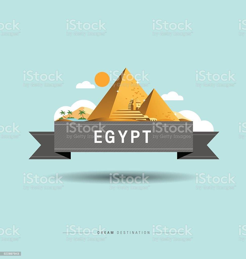 Pyramid, Sphinx, Egypt, travel, Landmark vector art illustration