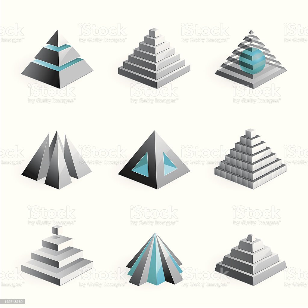 Pyramids - 3D series vector art illustration