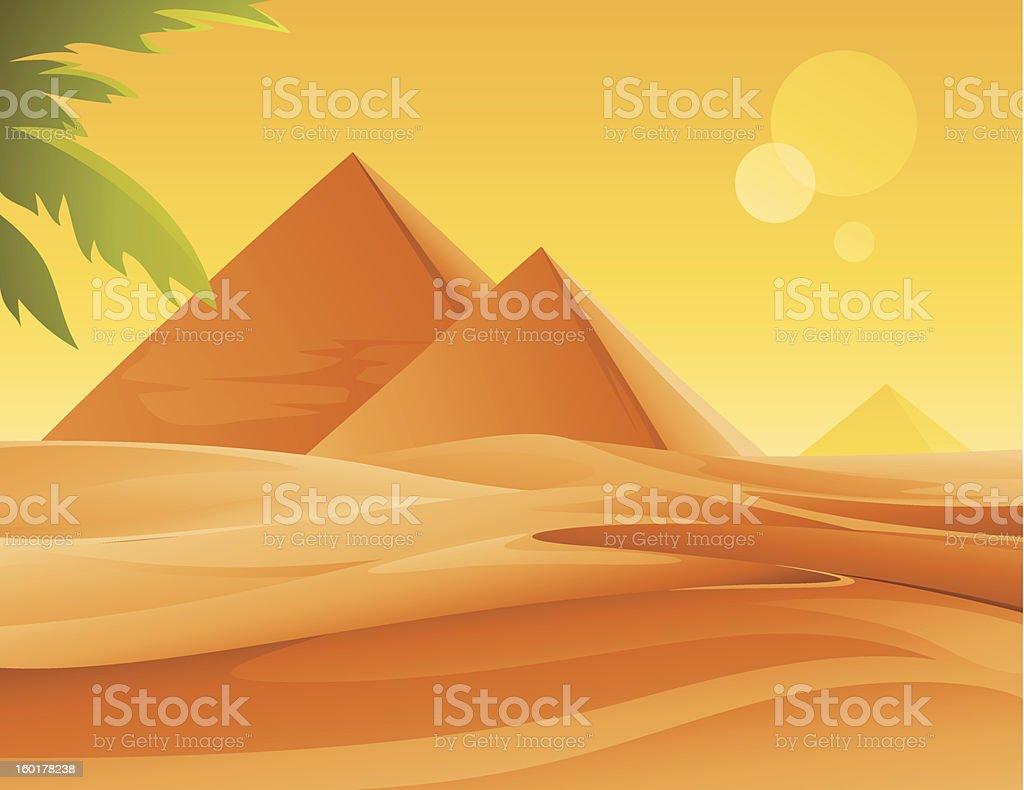 Pyramids and Desert vector art illustration