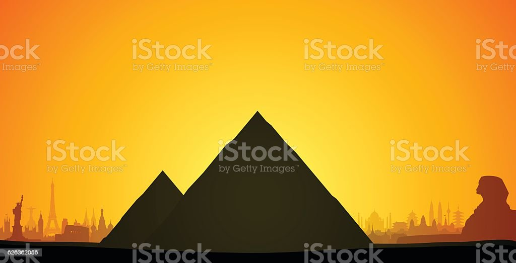 Pyramids, Egypt (Complete, Detailed, Moveable Buildings) vector art illustration
