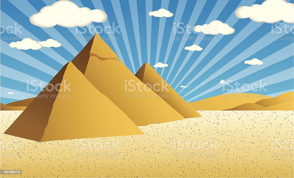 Pyramids in Egypt vector art illustration