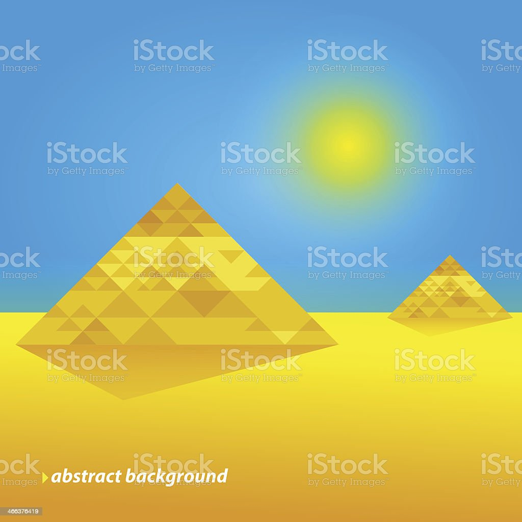 Pyramids In The Desert. Abstract Background royalty-free stock vector art