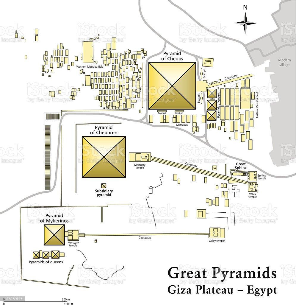 Pyramids of Giza Map vector art illustration