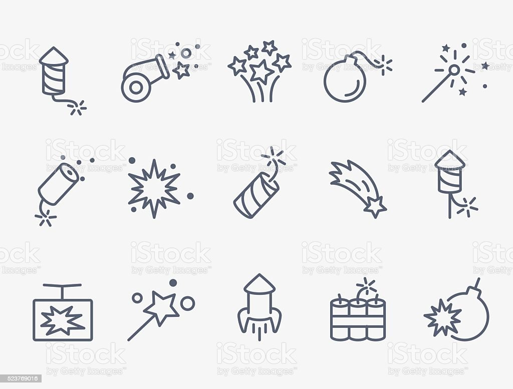 pyrotechnic and firework icons vector art illustration