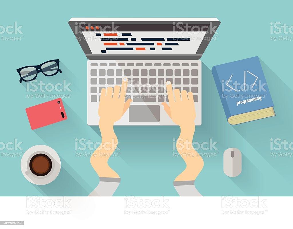 Python developers workplace. Python programming concept vector art illustration