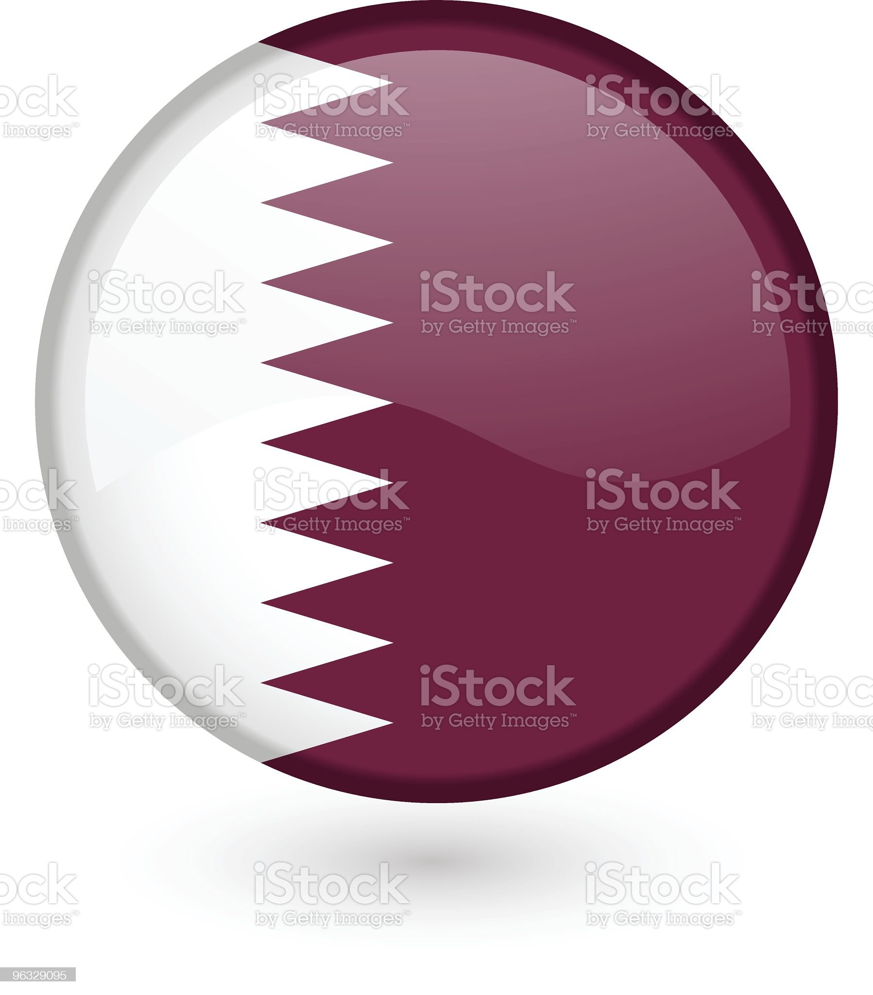 Qatari flag button royalty-free stock vector art