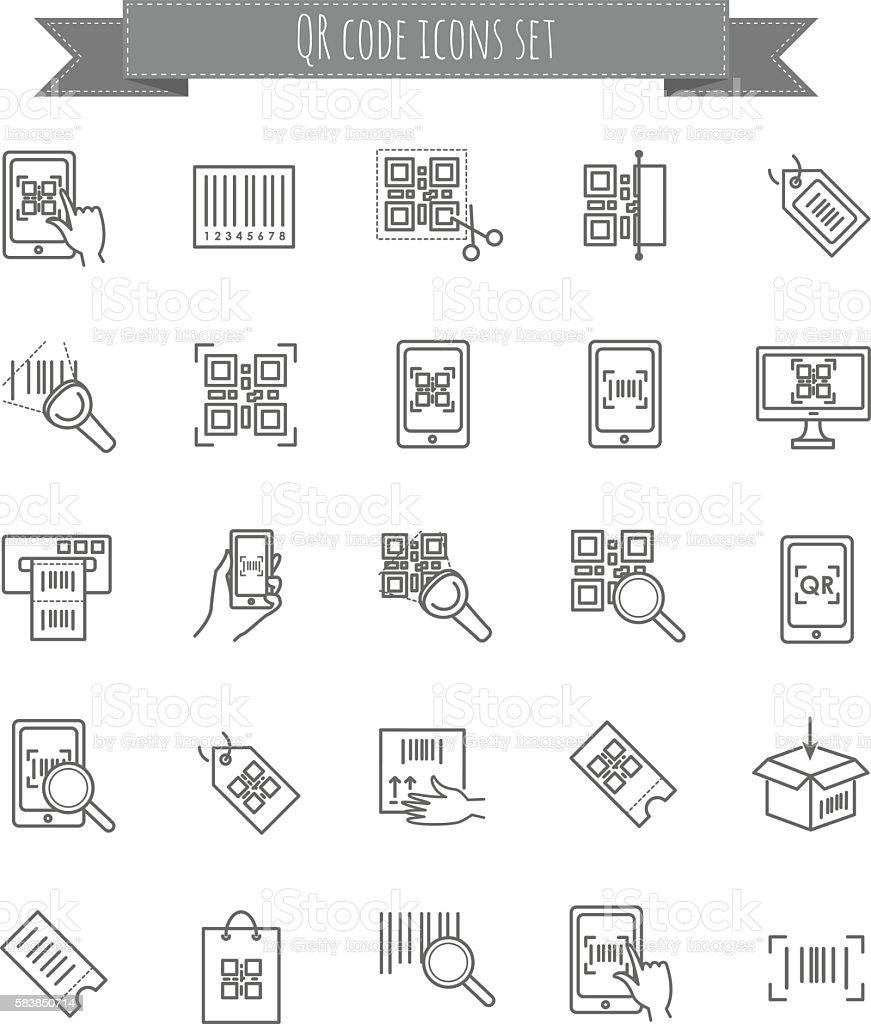 qr code icons set vector art illustration