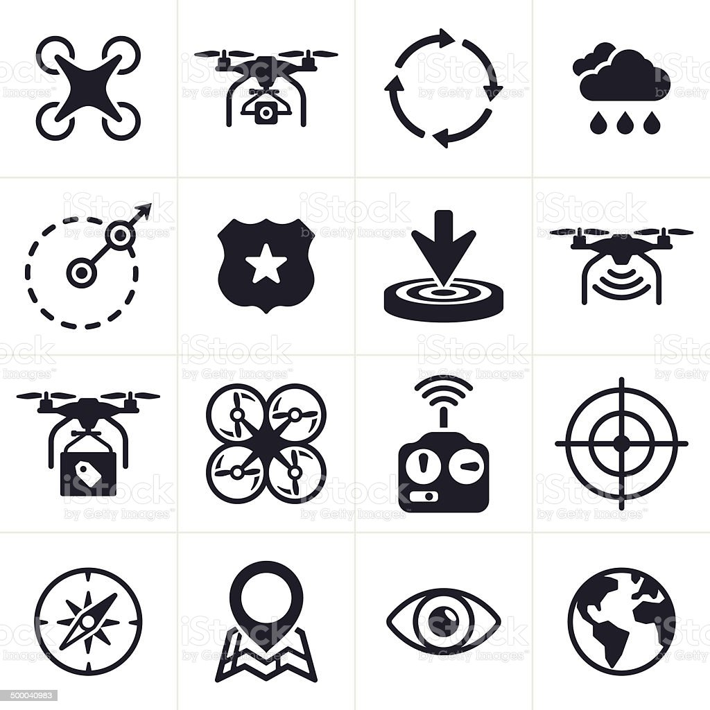 Quadcopter Icons and Symbols vector art illustration