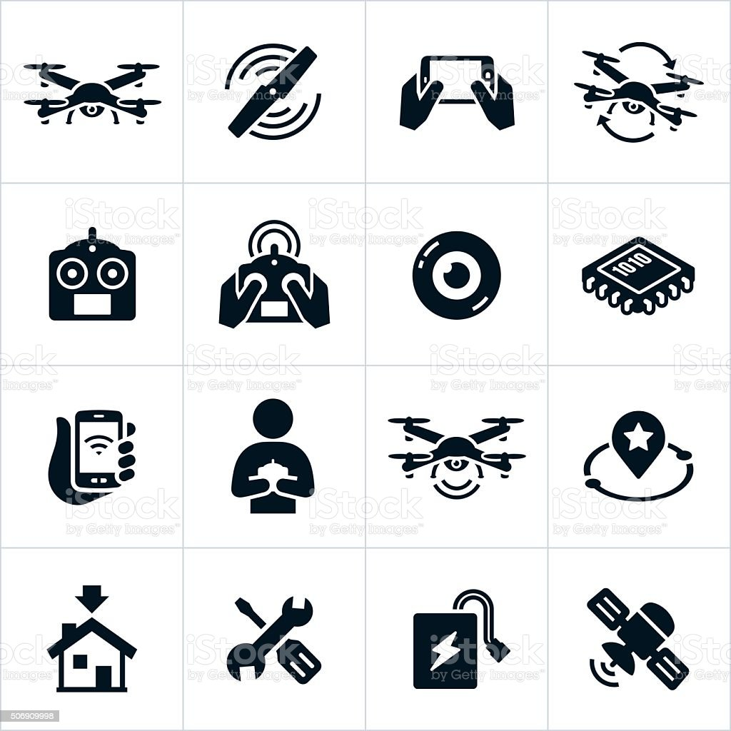Quadcopter Icons vector art illustration