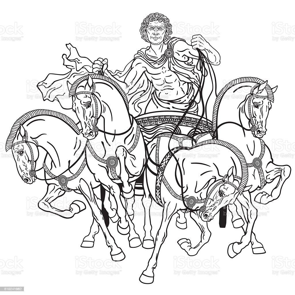 quadriga black and white vector art illustration