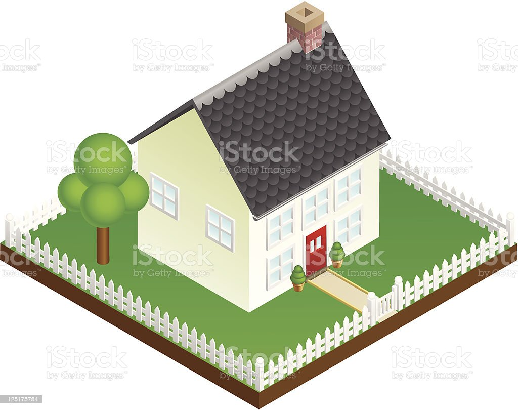 Quaint house with picket fence isometric view vector art illustration