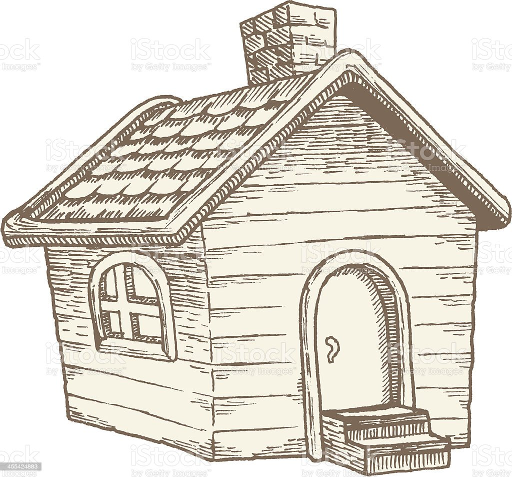 Quaint Little House Vintage Illustration vector art illustration