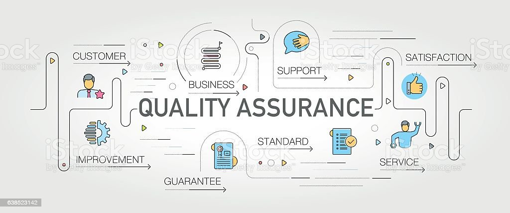 Quality Assurance banner and icons vector art illustration