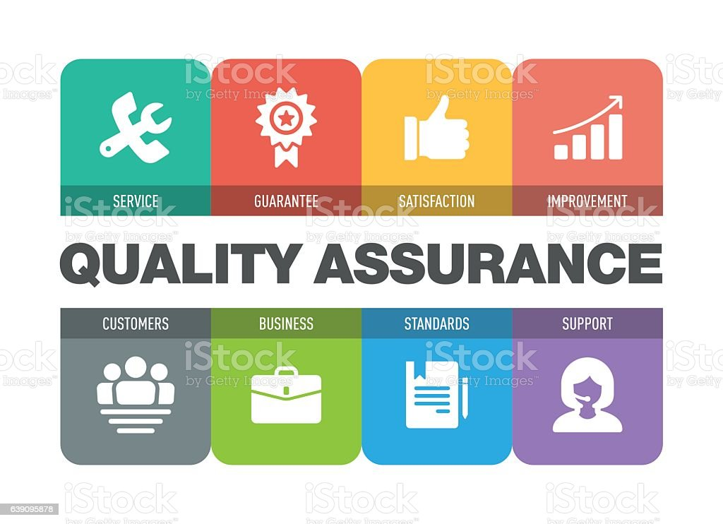 Quality Assurance Icon Set vector art illustration