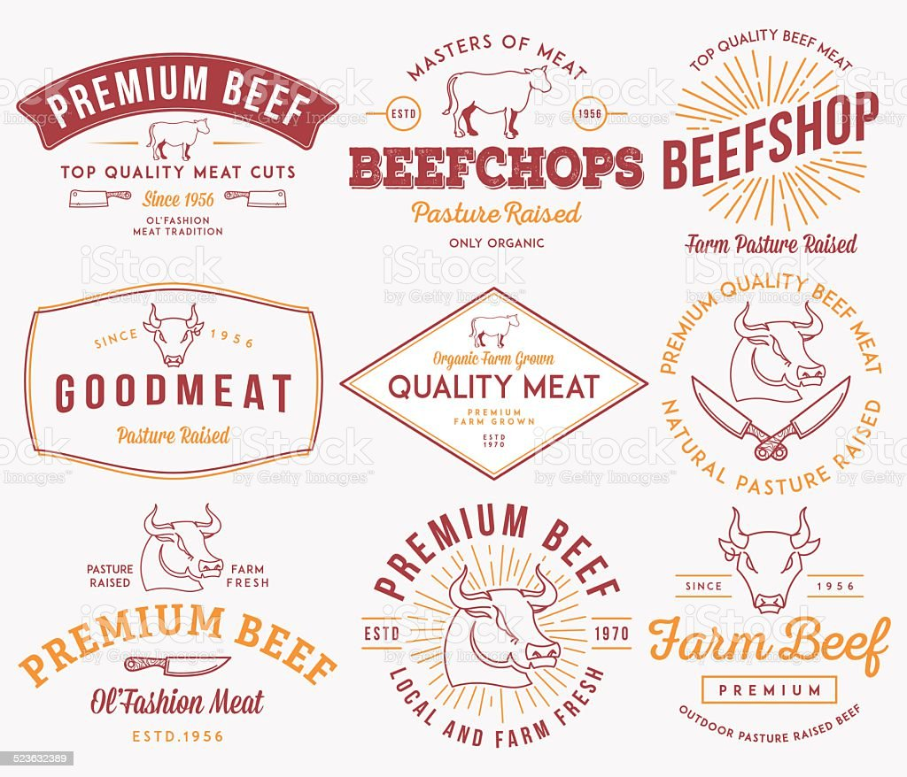 Quality beef meat colored vector art illustration