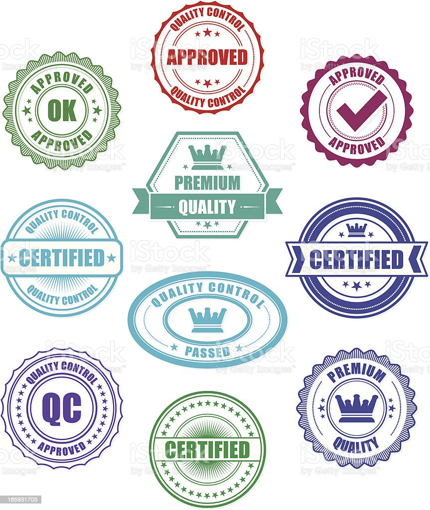 Quality Control badges vector art illustration