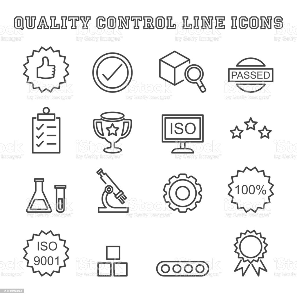 quality control line icons vector art illustration