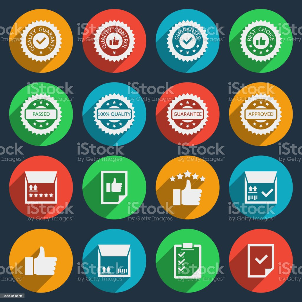 Quality control vector icons with long shadow effect vector art illustration