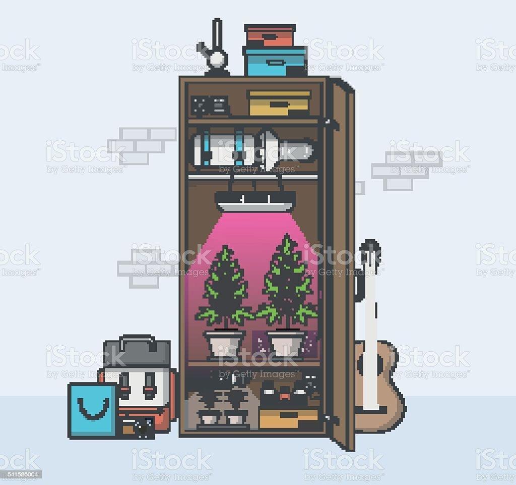 Quality Flat Design Room and Growing Marijuana in Cabinet. vector art illustration