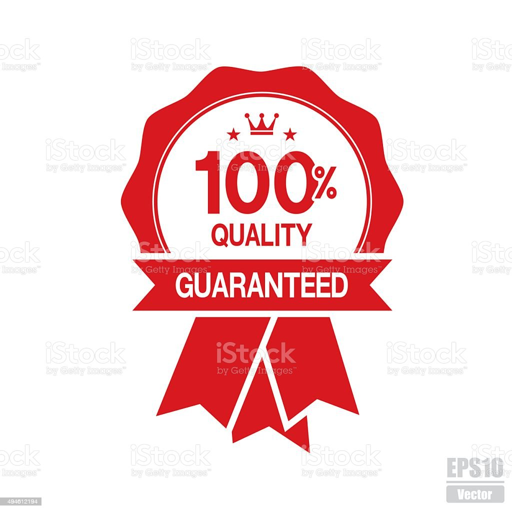 100% Quality Guaranteed sign or symbol. royalty-free stock vector art