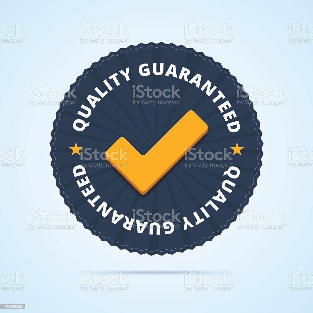 Quality guaranteed - tested badge vector art illustration