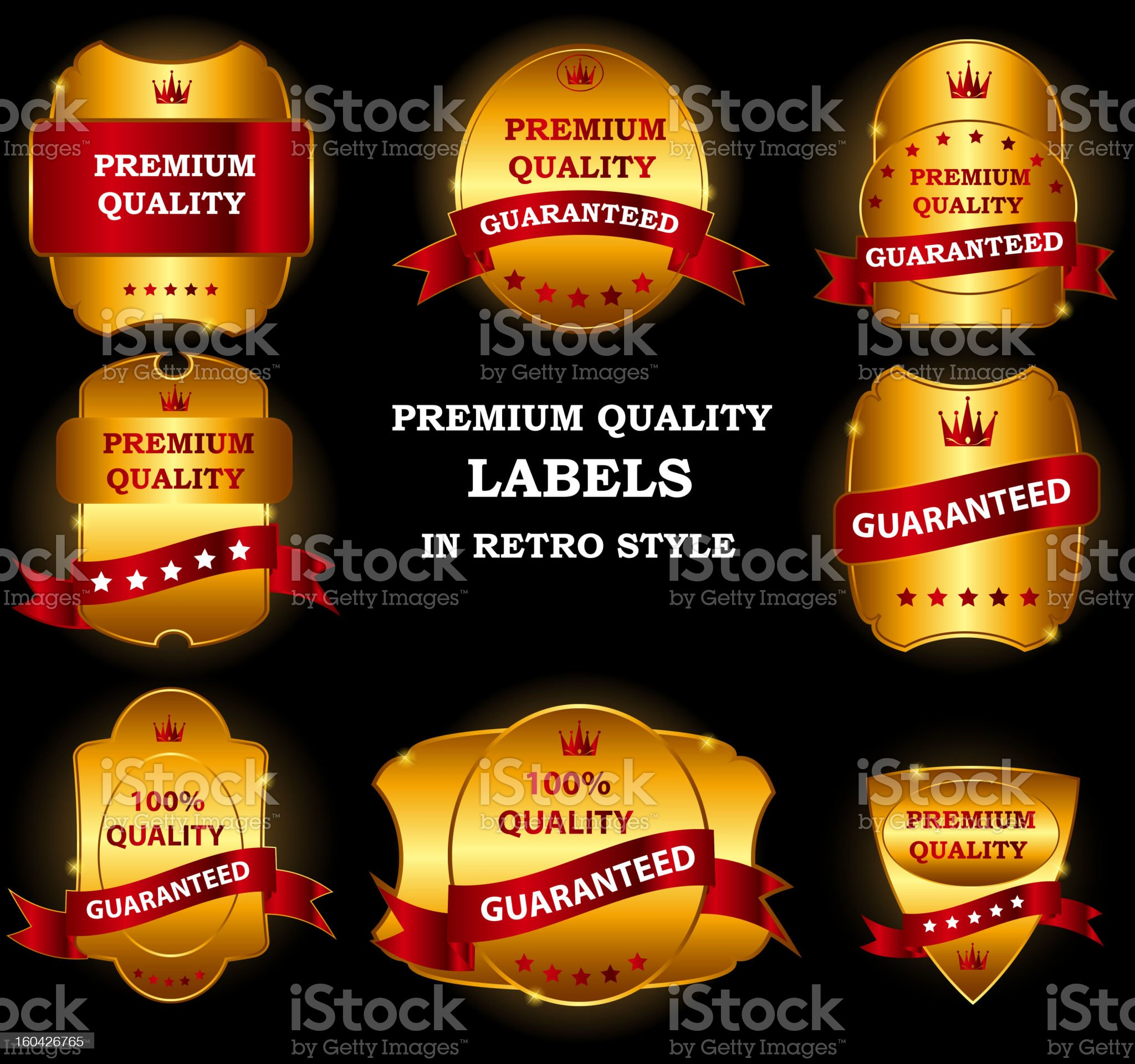 Quality Labels in retro vintage design royalty-free stock vector art