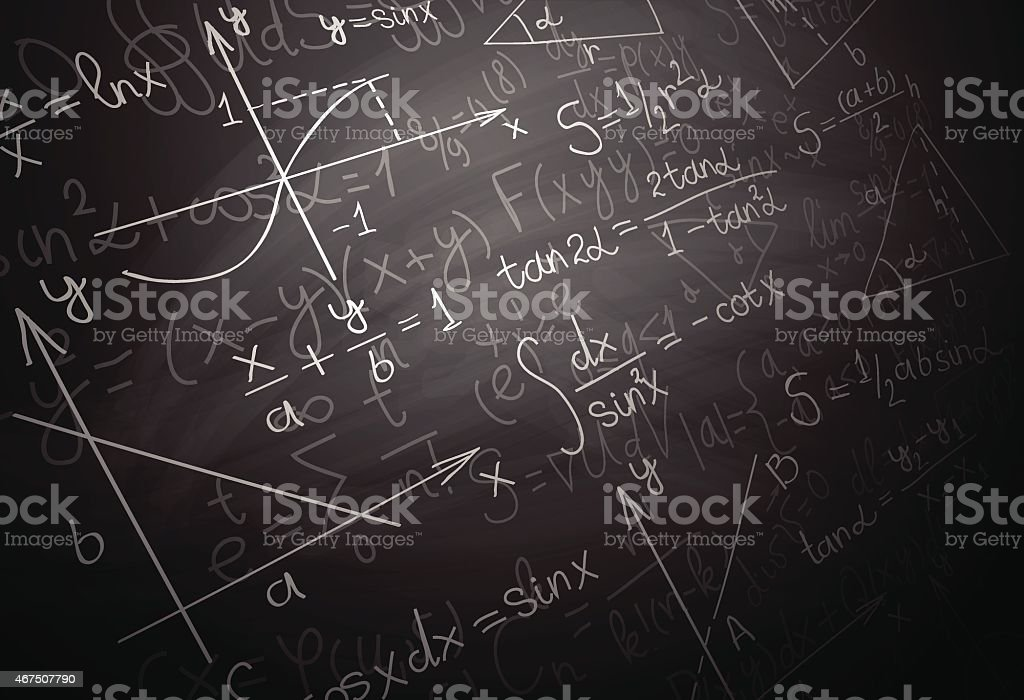 Quantum physics formulas over blackboard vector art illustration
