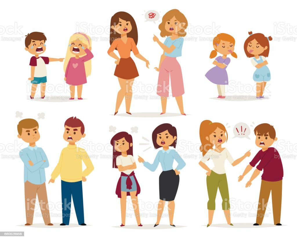 Quarrel collection with arguing people in different situations in flat style and conflict stress couples character vector illustration vector art illustration