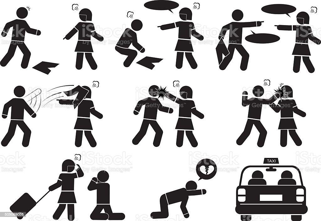 quarrel vector art illustration