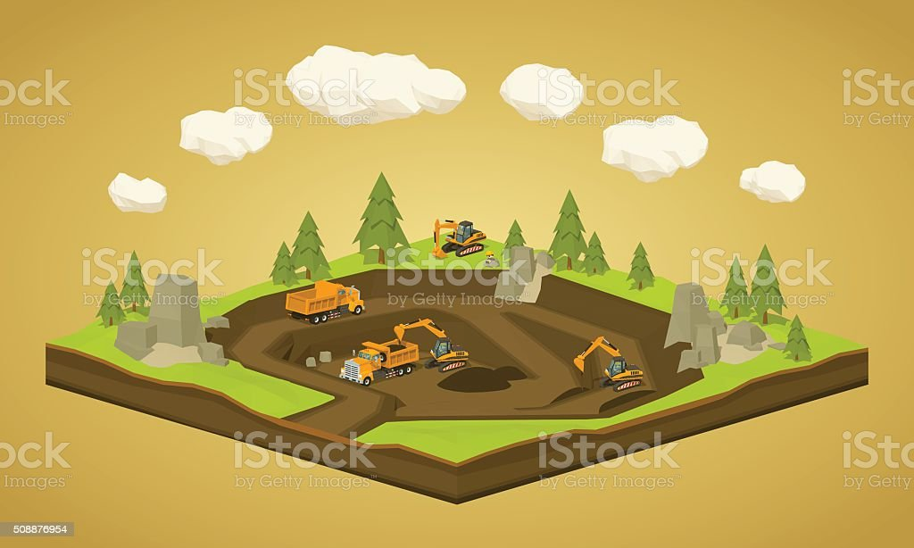 Quarry. Dig site vector art illustration