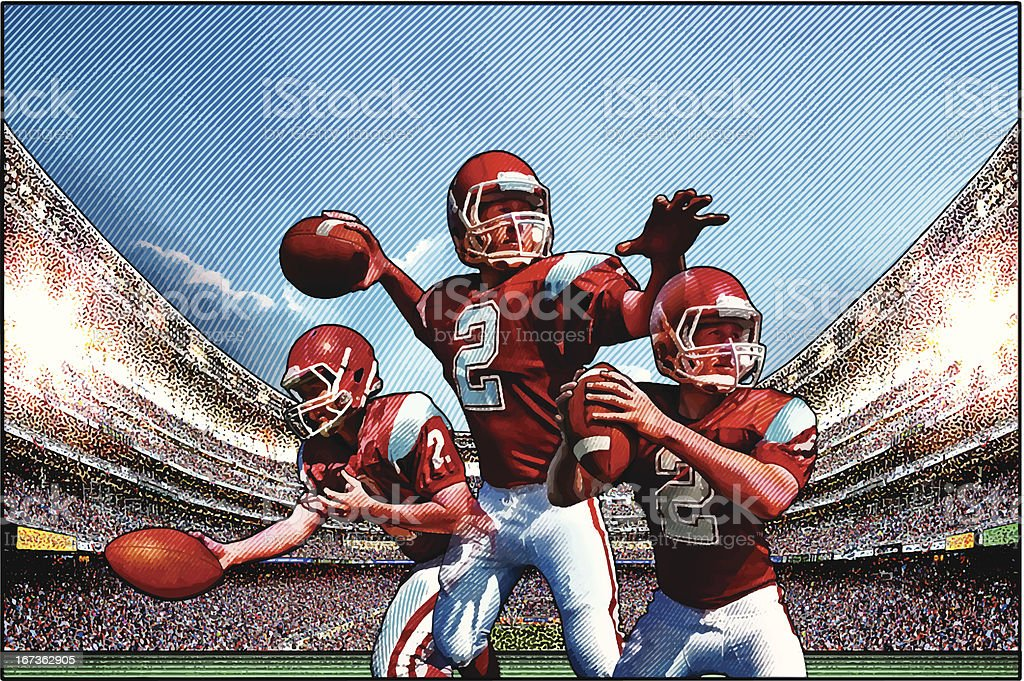 Quarterback. American Football vector art illustration