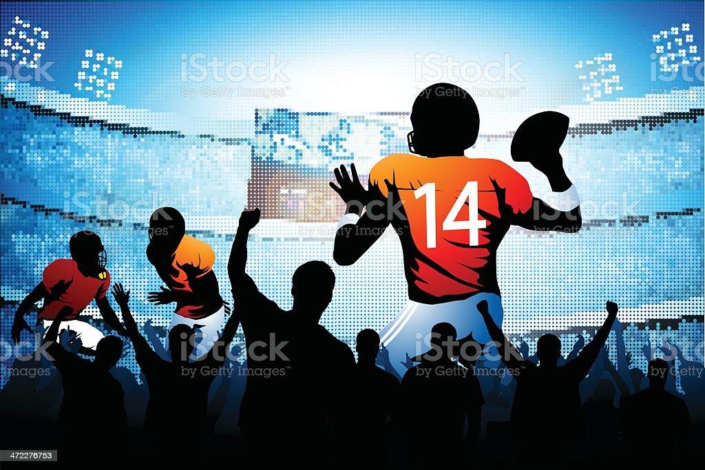 Quarterback making a pass vector art illustration