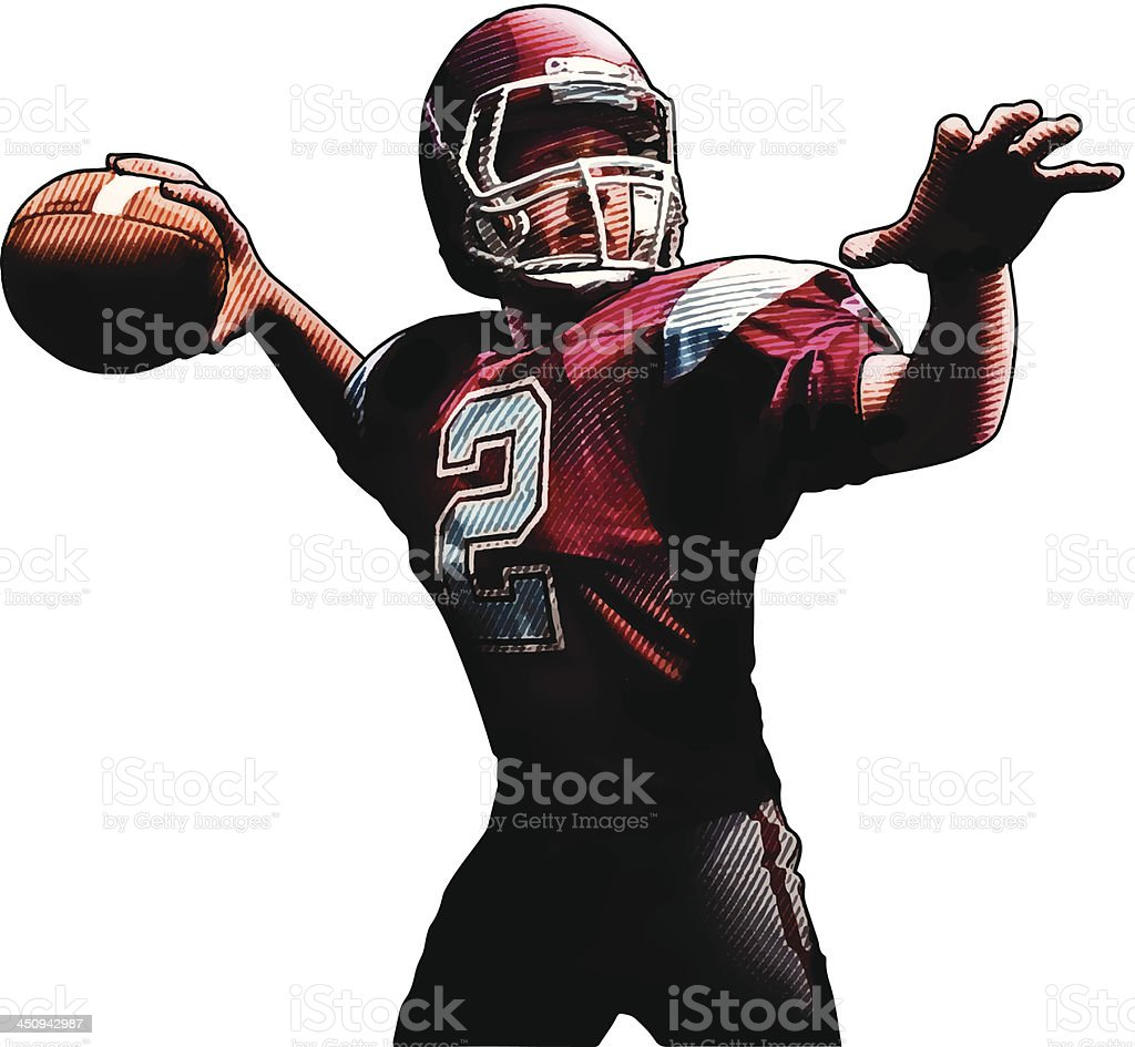 Quarterback Passing The Football vector art illustration