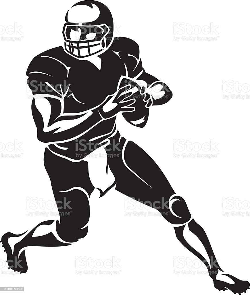 Quarterback Run vector art illustration