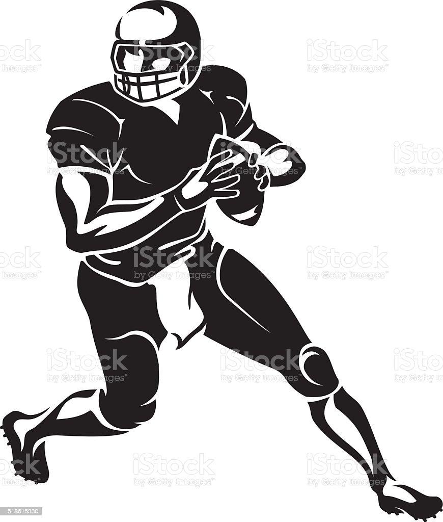 Quarterback Run vector art illustration