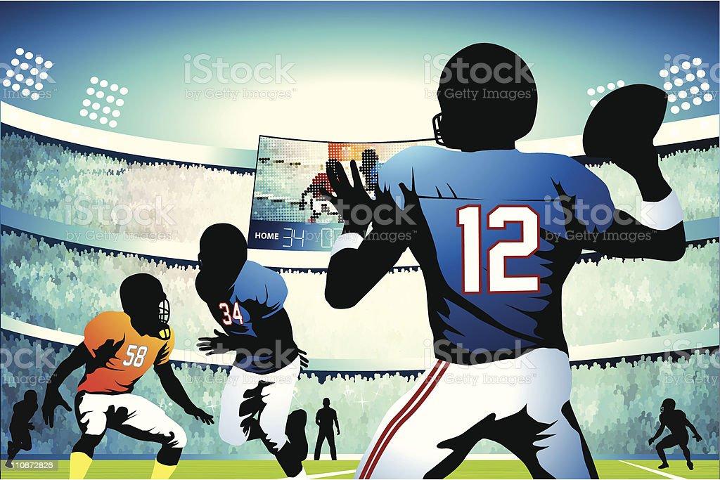 Quarterback setting up a pass vector art illustration