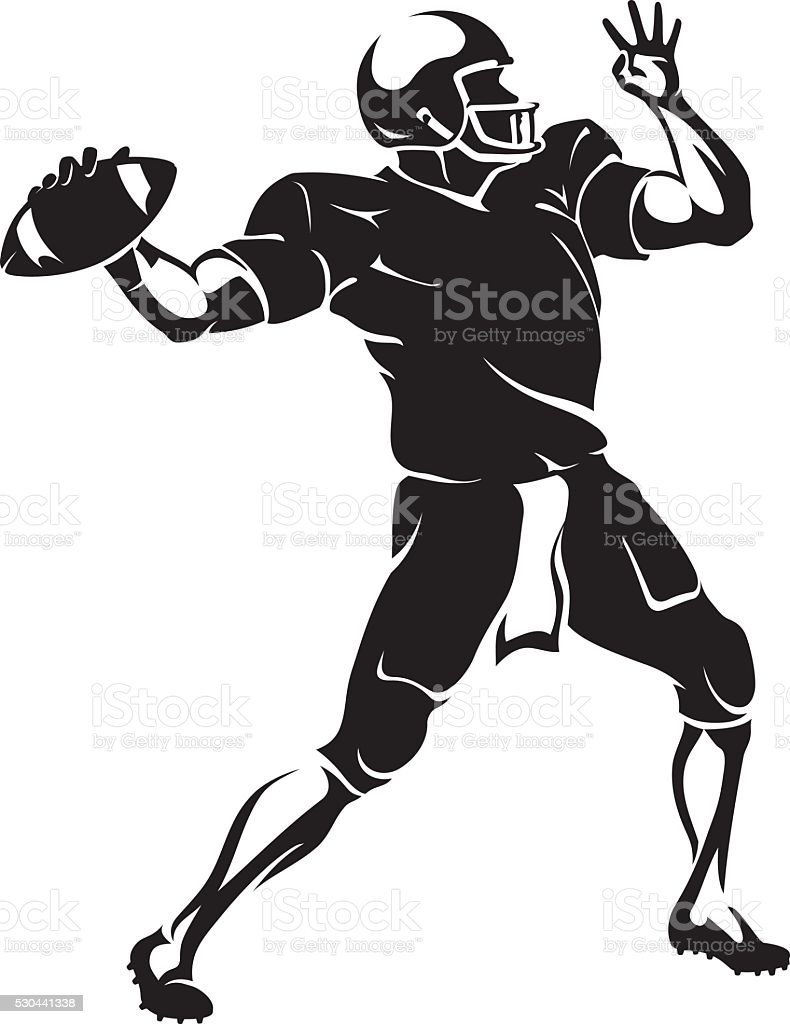 Quarterback Throw vector art illustration