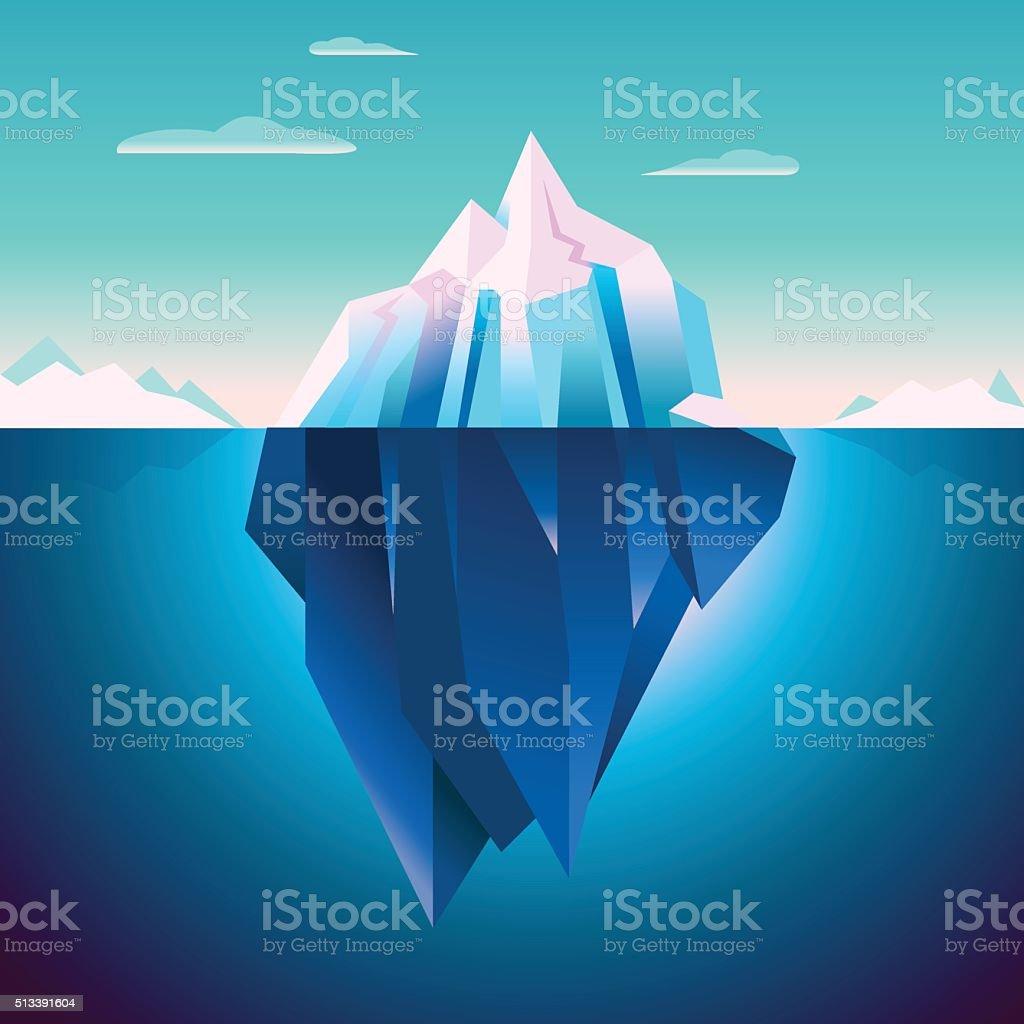 Quarz Iceberg Serenity Lowpoly Dream vector art illustration