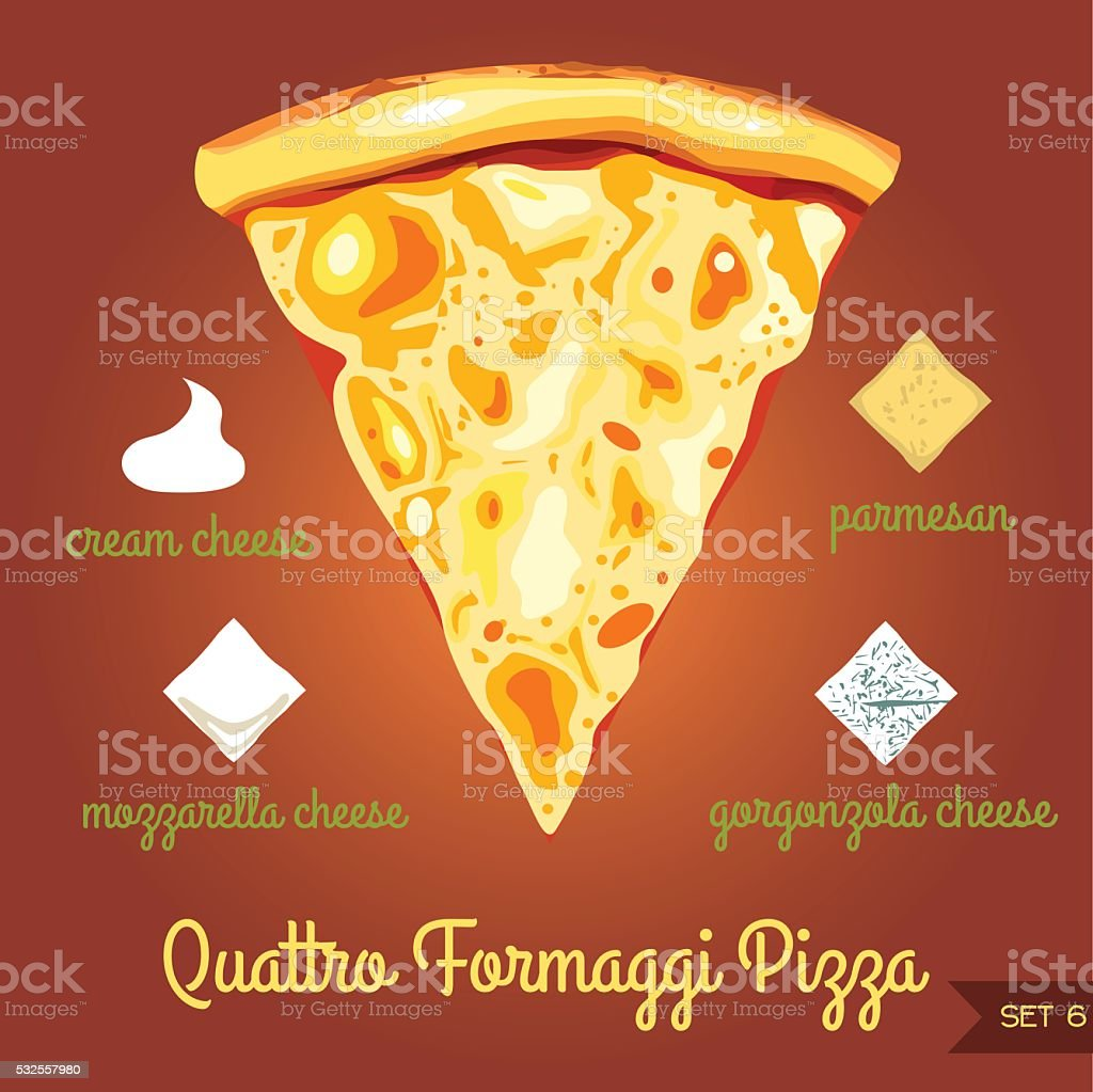 quattro  formaggi pizza with ingredients vector art illustration