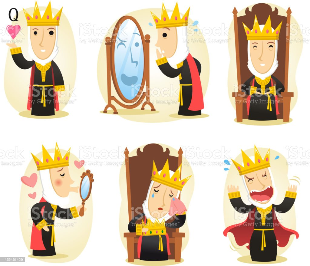 Queen action set vector art illustration