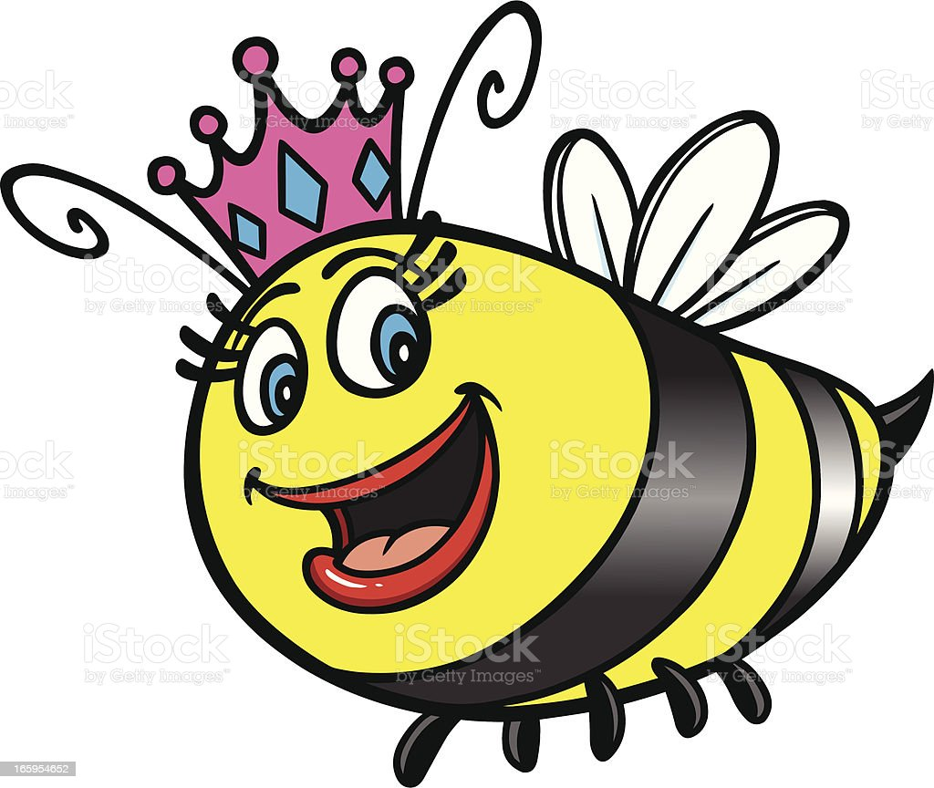Queen Bee Cartoon vector art illustration